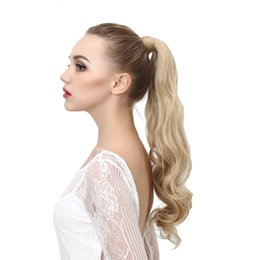 Wholesale clip long ponytail - 2017 Natural Wavy Hair Extension Heat Resistant Long Wrap Around Clip-in Ponytails Synthetic Hairpieces