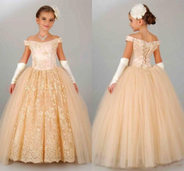 Wholesale Orange Lace Gloves - Champagne Lace Ball Gown Girl Pageant Dresses 2017 Off Shoulder Applique Floor Length Kid Formal Communion Gowns With Gloves