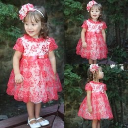 Wholesale Knee Length Dress 18 - Red 18 Months Flower Girls Dresses For Weddings Tulle Little Bride Gowns Lace Appliques Girl Pageant Dress With Sash