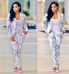Wholesale Slim Fit Work Suit - S-XL Women's Suits & Blazers Fashion Slim Fitted Floral Print Bodycon Blazers Suit Ladies Business Suit Professional Work Wear 2017