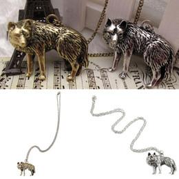 Wholesale Wolf Amulet - Men Animal Jewelry Antique Silver Copper Wolf Shaped Pendant Necklace Vintage Alloy Long Necklace Supernatural Amulet Knot