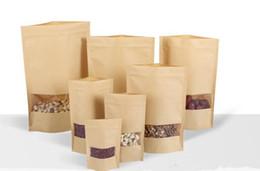 Wholesale Eco Friendly Paper Packaging - Food Moisture-proof Bags,Window Bags Brown Kraft Paper Doypack Pouch Ziplock Packaging for snack,Cookies H777