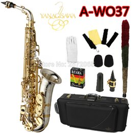 Wholesale Alto Sax - Wholesale- Brand NEW YANAGISAWA Alto Saxophone A-WO37 Nickel Plated Gold Key Professional Sax Mouthpiece With Case and Accessories
