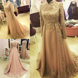 Wholesale Indian Style Evening Dresses - 2017 Elegant Overskirts Prom Dress Long Sleeve Dubai Indian Style High Neck Evening Gown Muslim Party Dresses Custom Made Beads Appliques