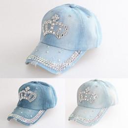 Wholesale Diamante Crowns - Wholesale- Women Adjustable Rhinestone Diamante Crown Denim Sun Baseball Hat Cap Women Caps A1 Px14