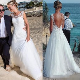 Wholesale Empire Jewel - 2017 Bohemian Lace Appliques Wedding Dresses Plus Size Summer Beach White Tulle Wedding Dress Bridal Gowns Long Train Cheap Sexy Country