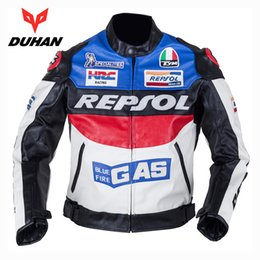 Wholesale Repsol Leather - NEW DUHAN Men's Moto Racing Jackets Motorbike GP REPSOL Motorcycle Riding PU leather Jacket Polyurethane