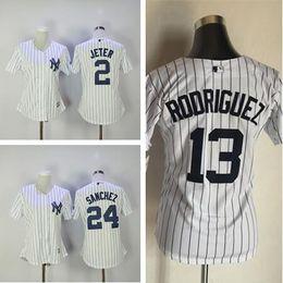 Wholesale Gary Mix - Women baseball New York Yankees Blank 2 Derek Jeter 13 Alex Rodriguez 24 Gary Sanchez White Jersey Mix Order