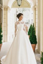 Wholesale Lace Champagne Satin Bolero - satin wedding dresses with long sleeves bolero 2017 milla nova bridal wedding gowns high neckline chapel train