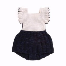 Wholesale Knitted Bodysuit - Ins 2017 New Baby Girl Boy Bodysuit Knitted Cotton Sleeveless Backless Overalls Toddler Clothing 71099
