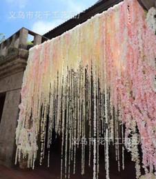 "Wholesale Hanging Wisteria Vine - 2017 White Wisteria Garland 80"" Hanging Flowers 10pcs For Outdoor Wedding Ceremony Decor Silk Wisteria Vine Artificial Flowers"