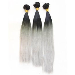 Wholesale New Hair Colors - New fashion 3 bundles Hair Weft color 1b gray silver High Temperature Hair Weave Hair Extension for full head free shipping