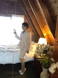 Wholesale Tuxedo Pants Suits For Women - Wholesale- Latest Coat Pant Design Beige Notched Lapel Custom Made Wedding Suit for Men Pleated Women Slim Fit 2 Piece Tuxedo Vestidoe F