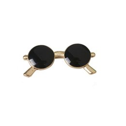 Wholesale Jewelry Safety Pin - Wholesale- 1PC Gold Plated Enamel Sunglasses Piercing Brooches Pin For Womens Girl Jewelry Summer Style Trendy Safety Lapel Pins Collar