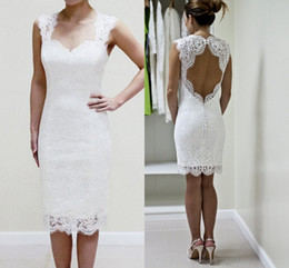 Wholesale Strapless Knee Length Wedding Dress - New Knee Length Full Lace Wedding Dresses 2018 Sweetheart Open Back Short Beach Boho Dress For Bridal Gowns Vestidos De Noiva Cheap