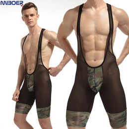 Wholesale See Underwear - Mesh Swimsuit Men 2017 Sexy Fashion See Camouflage Soft Breathable Underwear Transparent Shorts Bodysuits Boxers Wrestling Suits