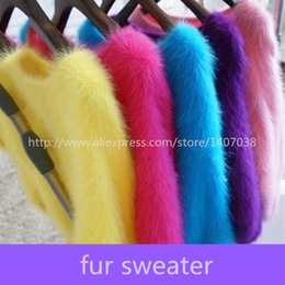 Wholesale Ladies Fur Sweater - Wholesale-100% mink sweater Women Sweaters and pullovers Pure fur sweater Knitted Pullover ladies sweater