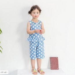 Wholesale Baby Embroidered Pants - Summer Girls Outfits New Baby Dots Pants Clothing Sets Embroidered Ruffle Tops + Polka Dot Shorts 2pcs Suits Toddler Clothes C996