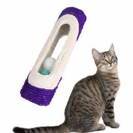 2019 rats jouets en gros Drôle Pet Cat Jouets Roulant Sisal Gratter Post Piégé Avec 3 Jouets À Billes Pour Le Chat Puppy Pet Training Supplies