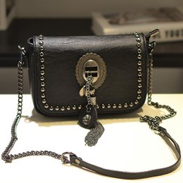 Wholesale Rock Punk Style Bags - Europe and the United States women tide leisure rock punk rivets Liu Ding tassel pendant shoulder oblique cross package ladies bag small sq