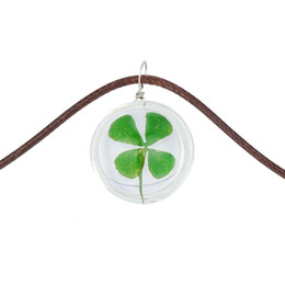 Wholesale Real Clover Necklace - Wholesale-2016 Handmade Summer Jewelry Short Leather Rope Chain Natural Real Four Leaf Clover Crystal Glass Ball Pendant Choker Necklace