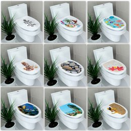 Wholesale Waterproof Decals Bathroom - Hardcover Foreign Trade Waterproof Toilet Stickers New Seat Mixed Style Decorative Wall Decals Paste Bathroom Painting Hot Sale 2fx F R