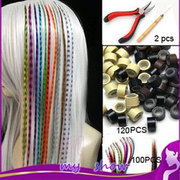 Wholesale Hair Feather Kit Pliers - Wholesale-Mixed Color 100pcs 16'40cm Women Long Straight Grizzly Micro Loop Ring Feather Hair Extensions+120 Beads+ 1 Hook+1 plier kit