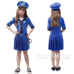 Wholesale Girls Super Fancy Dress - M~XL 2016 Fancy Super Cool Police Girl CosPlay Costume Halloween Party Carnival Children Gift Show Stage Costume Blue Dress Hat