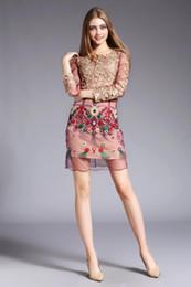 2020 vestido de primavera verano nuevo 2016 mujeres vestido de flores nuevo alta calidad primavera verano ropa de moda delgado bordado vestido de fiesta vestidos de lujo de la vendimia rebajas vestido de primavera verano nuevo
