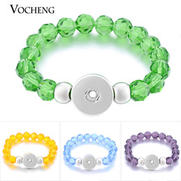 Wholesale Stretch Glass Bracelets - VOCHENG NOOSA Stretch Bracelet Ginger Snap Jewelry Elastic Glass Bead 18mm 8 Colors NN-459