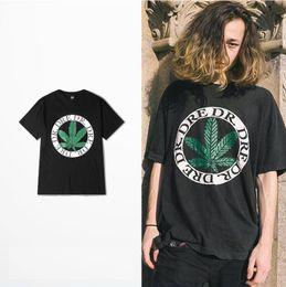Wholesale Sport T Shirt China - Big promotion China factory Sporting RAP green leaf Printed T shirts 2017 summer BLACK t-shirts men women Korean style loose plus size S-3XL