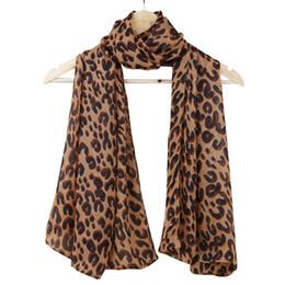 Wholesale Ladies Leopard Print Scarf - Wholesale- Fashion Lady Leopard Print Scarf Women Large Long Voile Scarves Shawls Winter Warm Soft Wrap Scarf Foulard Femme 165*70cm