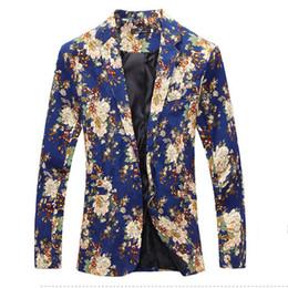 Wholesale Dress Slim Flower - Wholesale- Men Floral Blazers 2017New Designer Brand Fashion vintage Slim Custom Fit Linen Flower casual Business Dress Suit Blazer