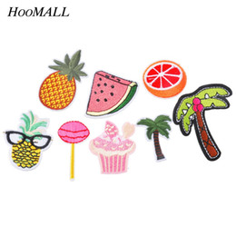 Wholesale Ironing Label - 8PCs Patches For Clothes Iron On Applique Embroidered Patches DIY Labels Backpack Sticker Sew Patches Fruit Cartoon
