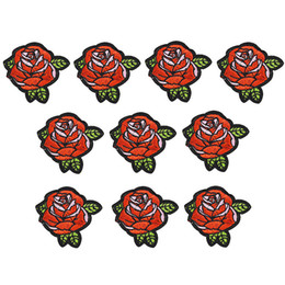 Wholesale Applique Sewing Flower - 10PCS flower embroidery patches for clothing iron-on rose patch applique iron on patches sewing accessories badge stickers on clothes DIY