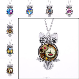 Wholesale steampunk owl pendant - Antique Silver Steampunk Birds Owl Glass Cabochon Necklace Glass dome Pendant Punk jewelry for Women Gift 161811