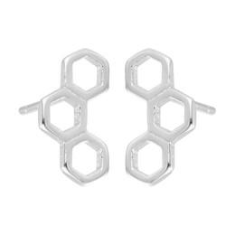 5 paia / lotto 925 gioielli in argento sterling 3 Hexagon Geometric Lovely Honeycomb Post Orecchini per le donne regalo di compleanno da