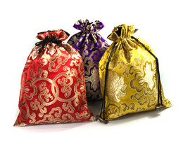 Wholesale Large Craft Bags - Luxury Jacquard Large Silk Brocade Pouch Drawstring Gift Packaging Bag Jewelry Crafts Bra Underwear Storage Pocket Shoe Dust Bags 3 size
