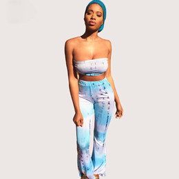 Wholesale Wide Legged Pants For Women - tracksuit for women tie dye print summer 2 two pieces sets crop top and long wide leg pants sexy club party sets YJ0246