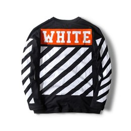 Wholesale T Shirt Easy - 17 new style off white men's cotton Long sleeve T-shirt Stripe printed letters Easy leisure round neck T-shirt black and white S--XL