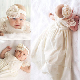 Wholesale Cheap Baptism Gowns - New Arrivals 2017 First Communion Dresses Cheap Jewel Lace Short Sleeve Baptism Gown Christening Dresses Custom Made China EN4197