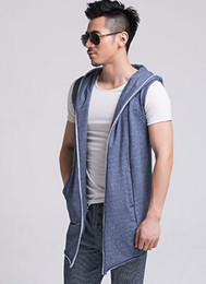 Wholesale Man Vest Korean - Wholesale- Korean Mens Sleeveless Cardigan Outwear Spring Slim Hooded Vest Men Black Grey Blue Sleeveless Jacket Hoodie Vest Chaleco Hombre