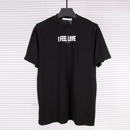 Wholesale Mens Fashion Tees - US-Euro New Unisex Tee Shirts Fashion I Feel Love Letter Print Mercerized Cotton Mens Designer Clothing Brand T Shirts For Men