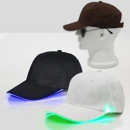 Wholesale Christmas Lights Hat - LED Light Hat Glow White Black Fabric For Adult Baseball Caps Luminous 7 Colors Adjustment Size Xmas Party Decor ZA5188