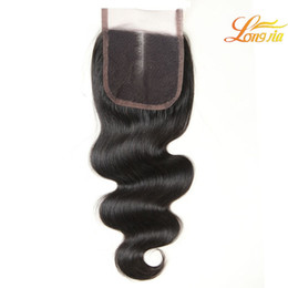 Wholesale Human Hair 1piece - Natural Color Brazilian Hair Body Wave Lace Closures 4x4 Peruvian Malaysian Indian Body Wave 1Piece Lace Closure 100% Virgin Human hair #1B