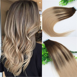 Wholesale Ash Blonde Hair Extensions - #4 #18Skin Weft Tape In Human Hair Extensions PU Tape Hair 40pcs set 14 - 24 inch Balayage Ombre Hair Color Ash Blonde Highlight
