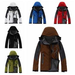 Wholesale Wholesale Soft Fleece Hoodies - 6 Colors TNF Outdoor Men Winter Coat Soft Shell Hoodies Outdoor Hiking Jacket Sports Keep Warm Clothes Sportswear CCA7622 10pcs