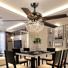 Wholesale Wood Ceiling Lamps - Crystal ceiling fan wood leaf antique fan light fan Chandelier with Remote Control dining room living room pendant lamp