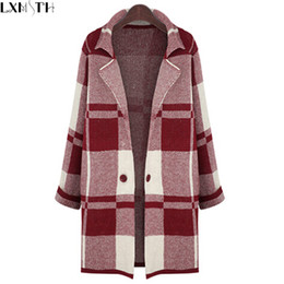 Wholesale Long Sweater Trench Coat - Wholesale-5XL Long Sleeve Sweater Women 2016 Autumn Winter Thick Plaid Long Knitted Female Cardigan Women's Trench Plus Size Coat Vestidos