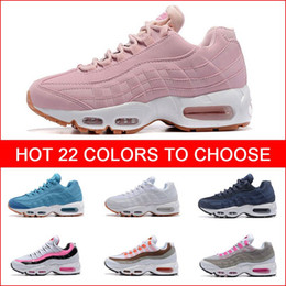 Wholesale Womens Athletic Shoes Cheap - Cheap Hight Quality Women's Running Shoes White Womens Air Cushion 95 Sneakers Boots Red Woman Walking Sports Athletic Tennies Shoes